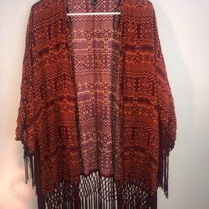 Forever21 Size M Aztec Fringe Kimono